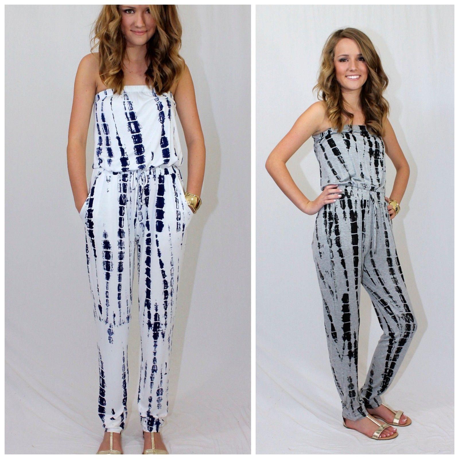 301462fb6bc6 Boho Strapless Bamboo Tie Dyed Jumpsuit Long Length Jersey Knit Wasabi Mint  USA