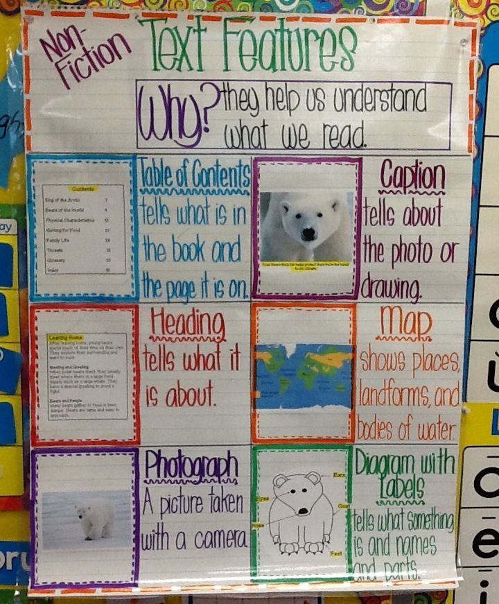 Text features for non fiction somewhat color coded tee hee first grade anchor chart also rh pinterest