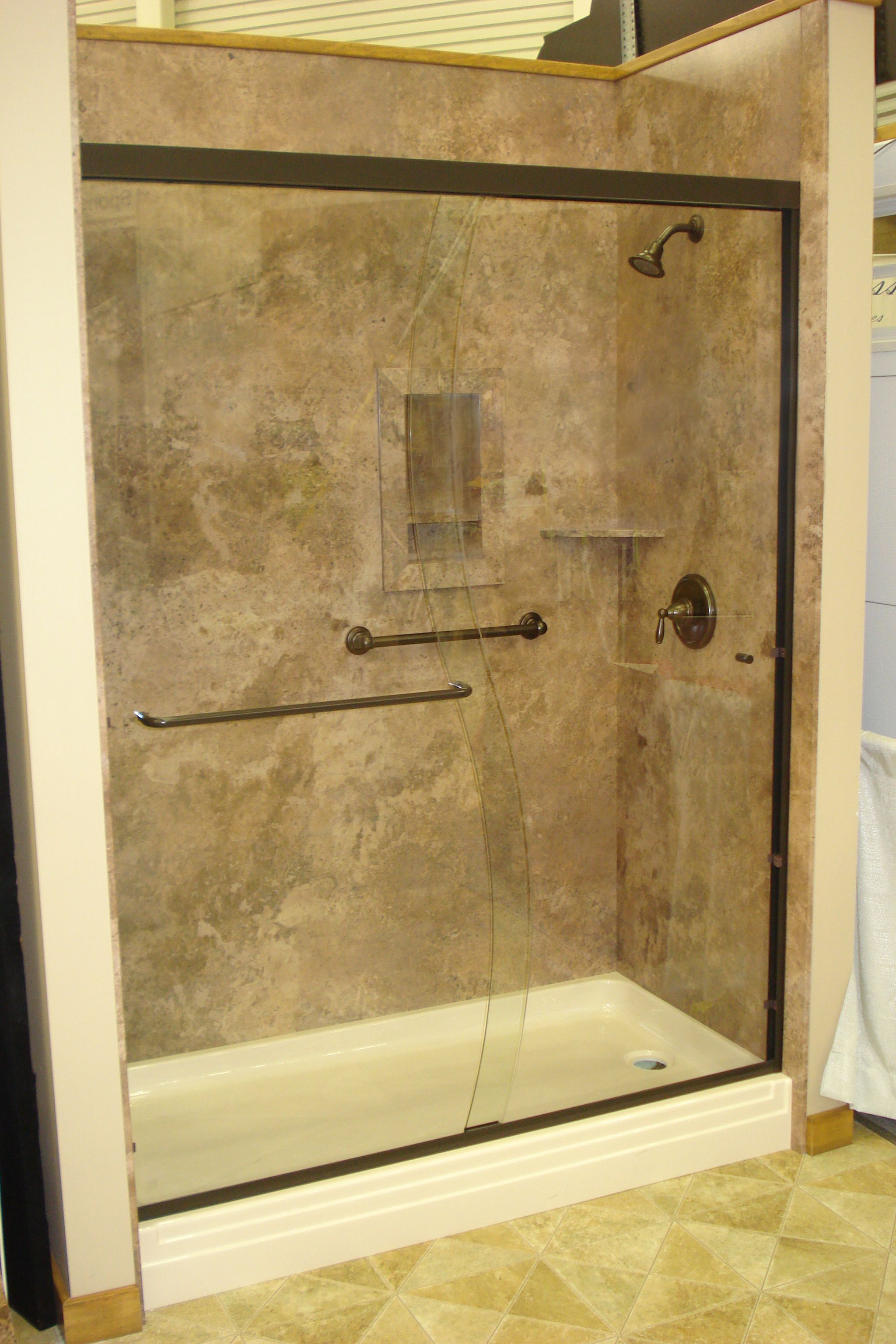 Mocha Travertine With Oil Rubbed Bronze Shower Door Oasis Shower - Acrylic bathroom wall panels for bathroom decor ideas