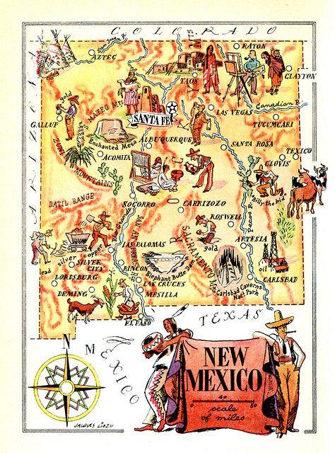 Vintage Travel New Mexico New Mexico Map Mexico