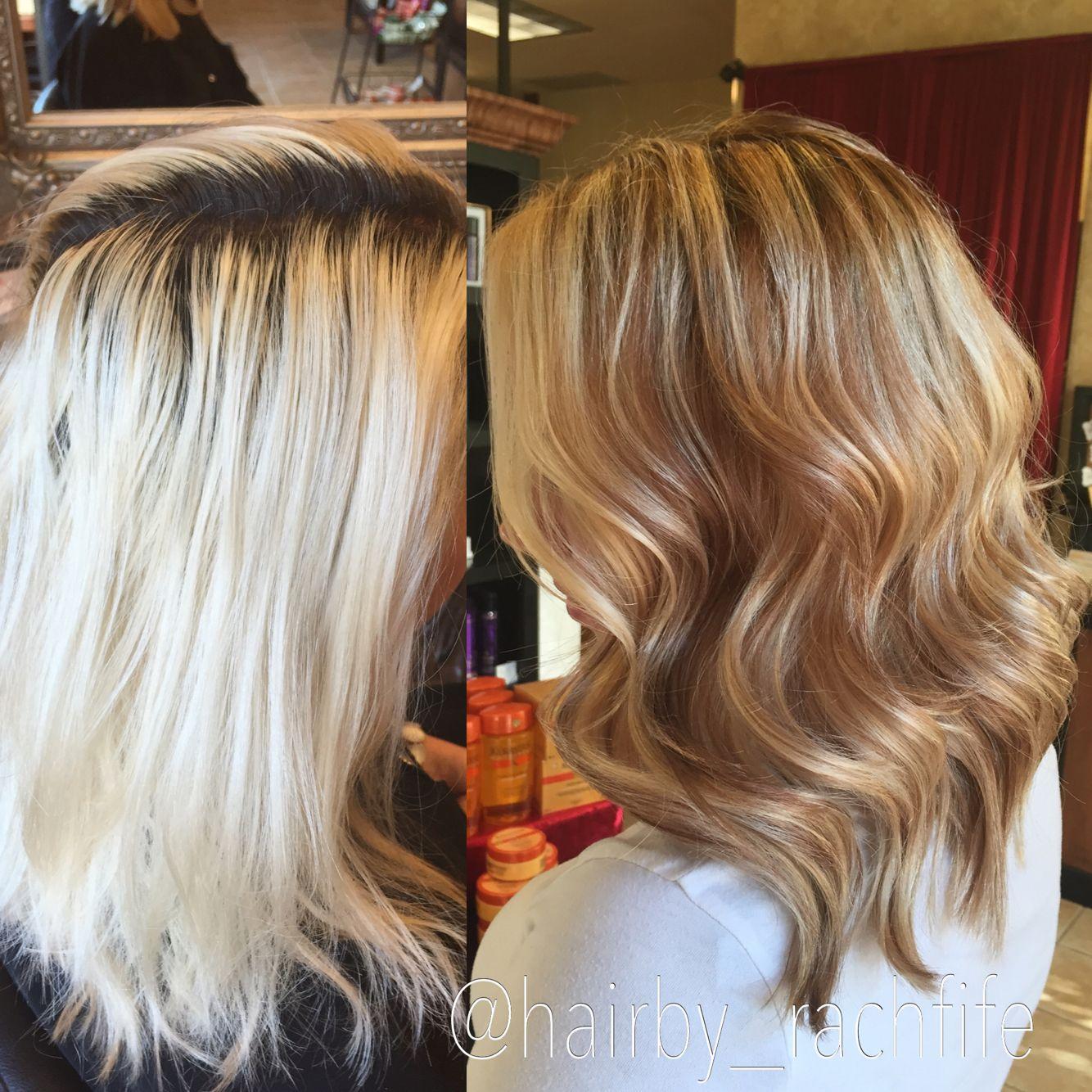 Corrective Color Before And After Platinum Blonde To Warm Golden