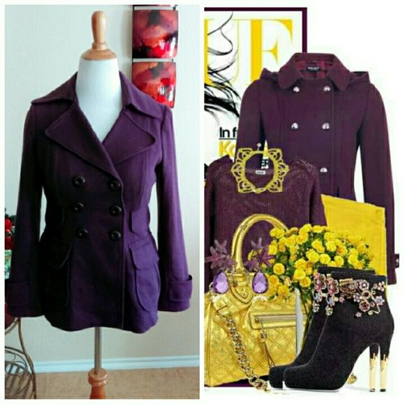 LAST CHANCE HP Purple Pea Coat Worn about 3xs this cotton yet sturdy pea coat is trending in color. Love this dark purple! Has all buttons in tack and no flaws. Nice winter coat. Final price unless bundled. INC International Concepts Jackets & Coats Pea Coats
