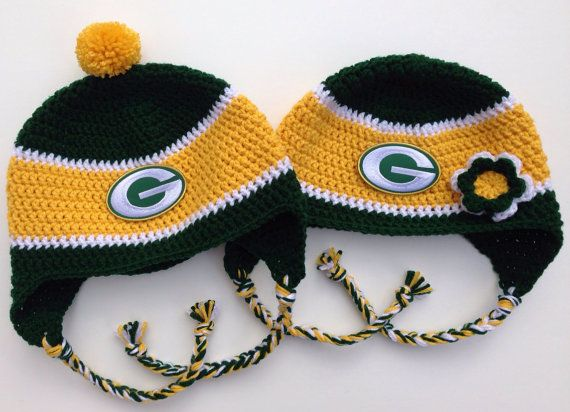 Have A Green Bay Packers Fan In Your Family This Hat Is Perfect For Chilly Games And Other Winter Activities Each Hat Features Ear Crochet Hats Crochet Hats
