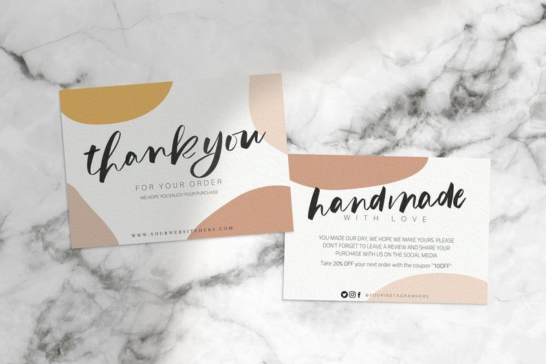 Thank You Card Template Thank You For Your Order Card Etsy In 2021 Thank You Card Design Business Thank You Cards Thank You Card Template