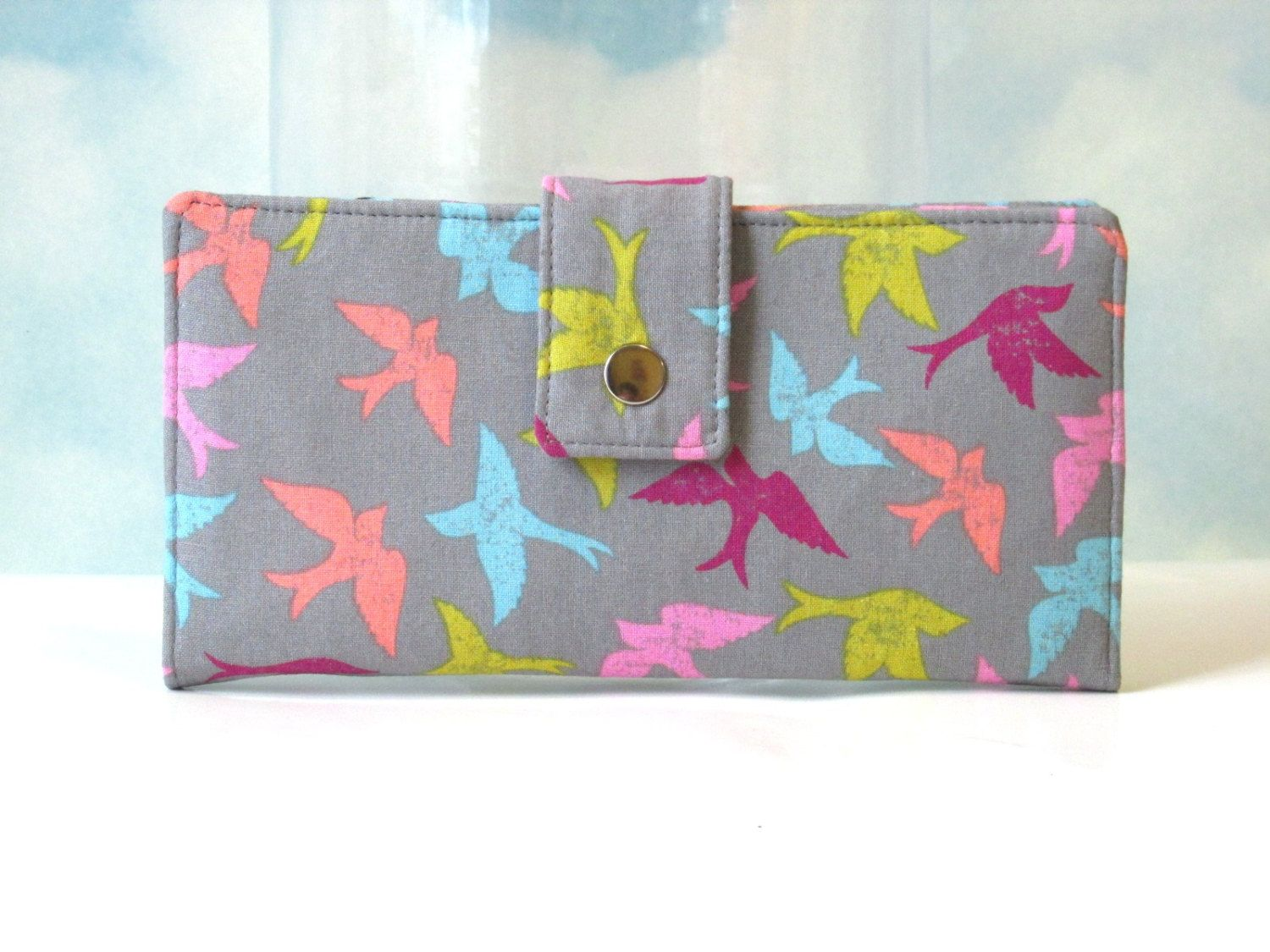 Handmade womens wallet  - birds everywhere with colors - vegan wallet clutch - Custom order - gift for her by PatrisCorner on Etsy
