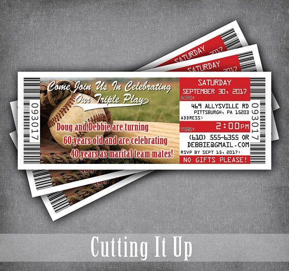 Baseball Anniversary Ticket Invitation, Baseball Invitation Ticket - ticket invitation