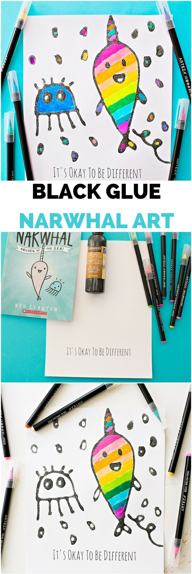 Black Glue Rainbow Narwhal art for kids. What a cute ocean or sea craft! Inspired by Narwhal and Jelly children's book.