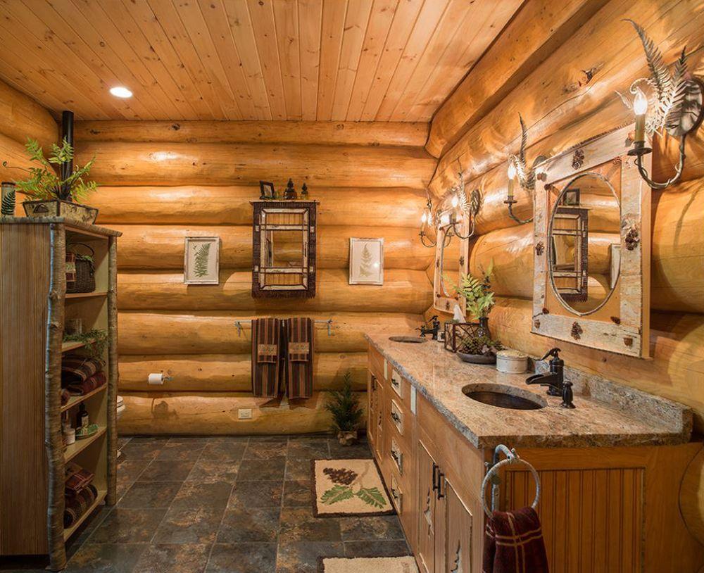 18 Log Cabin-Home Decoration Ideas | Baño