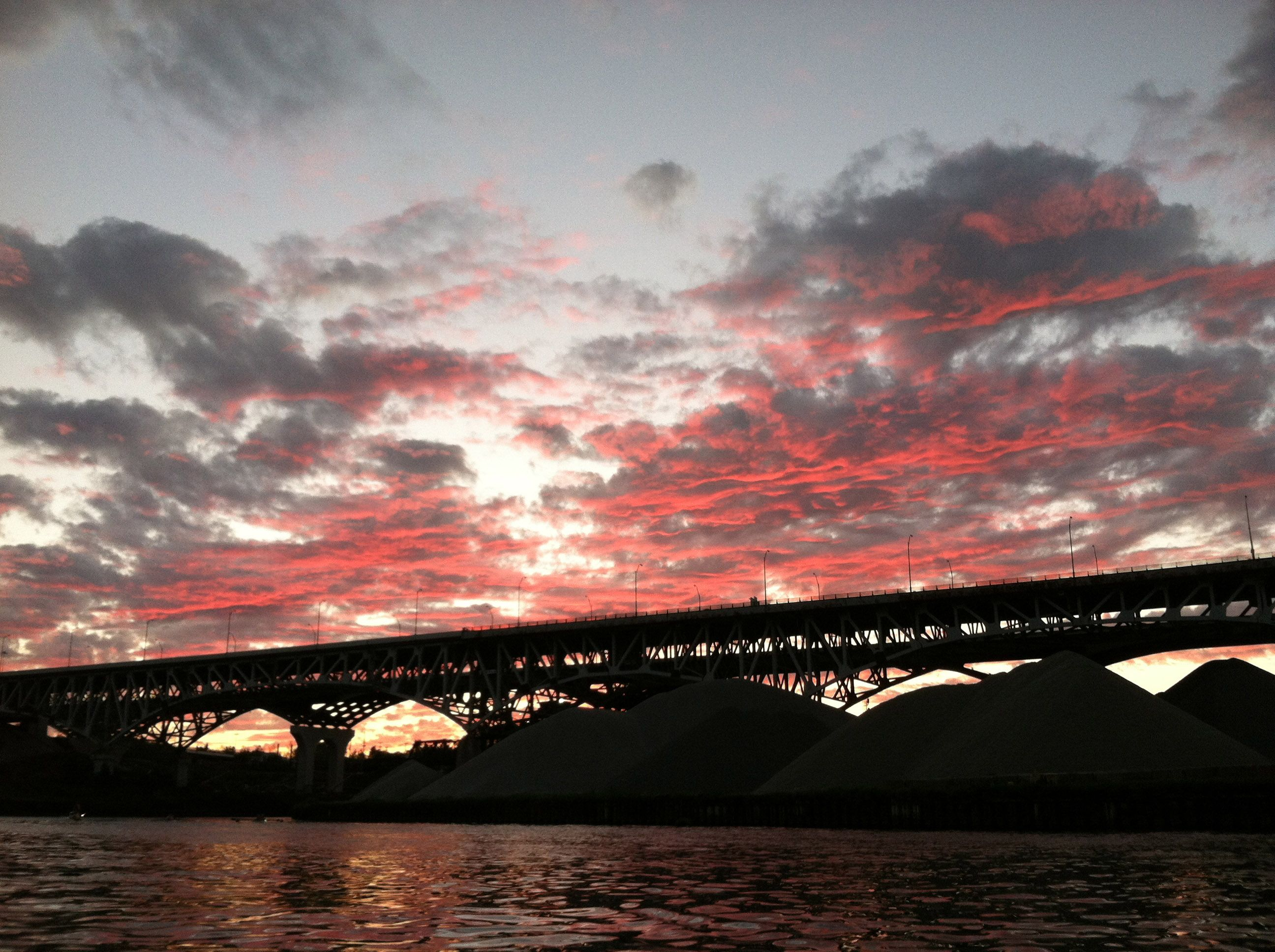 Sunset on the Cuyahoga River, across from Scranton Flats