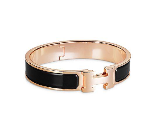 0d14f7ce978 ... order clic h hermes narrow enamel bracelet rose gold plated hardware  2.25 diameter 7.5 circumference 0.5