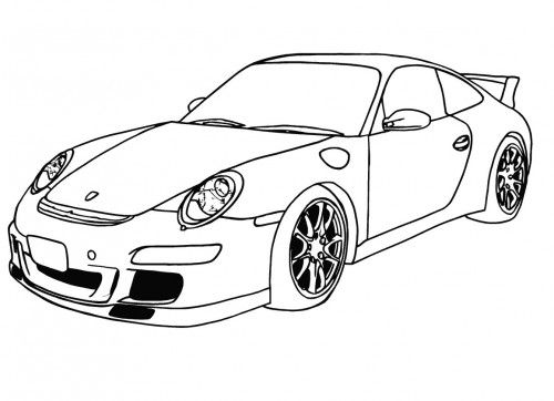 Racing Car Porsche Ready To Race Coloring Page