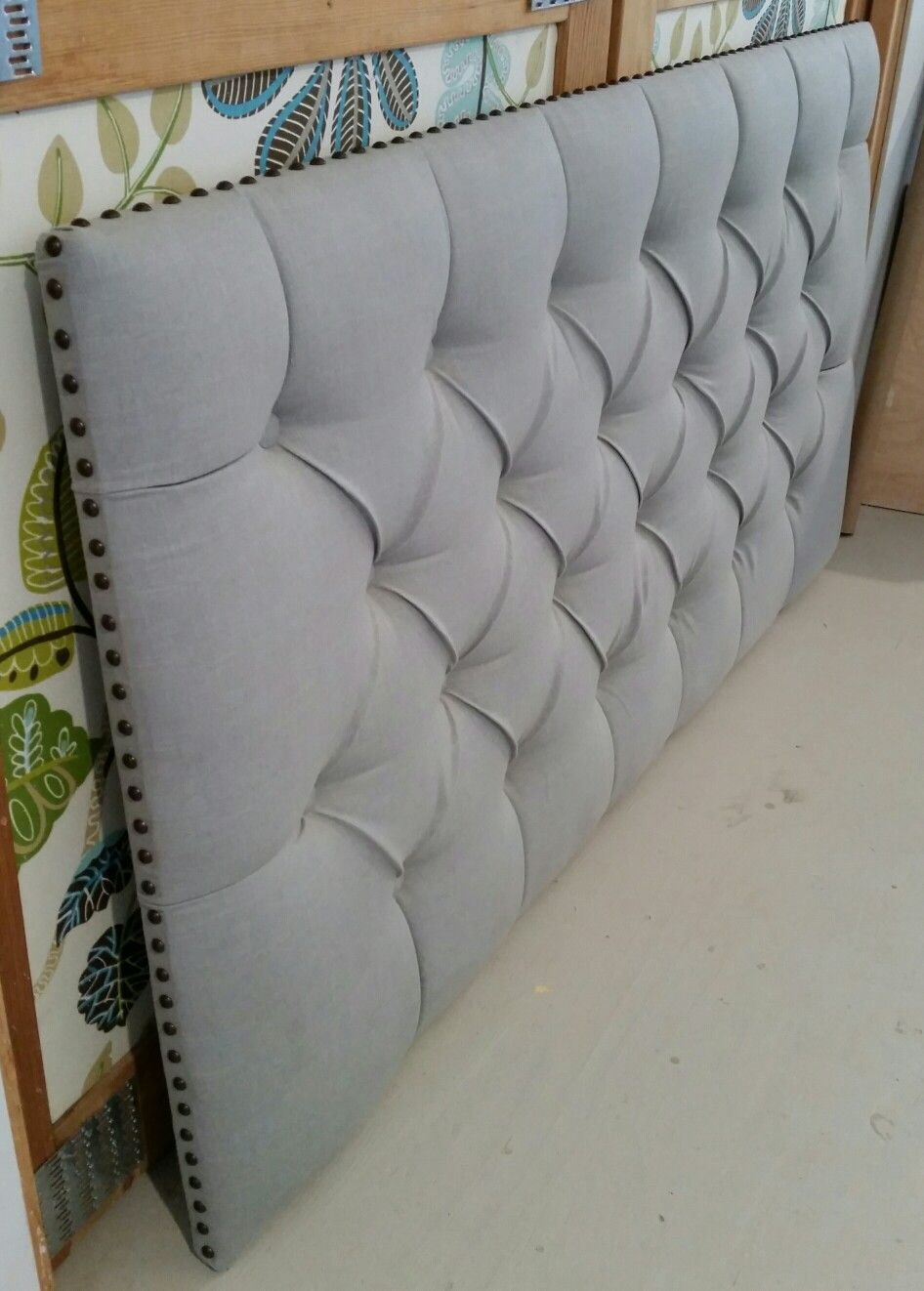 Tufted Upholstered Headboard Grey Linen Custom Wall Mounted Cabeceras Ejecutivo