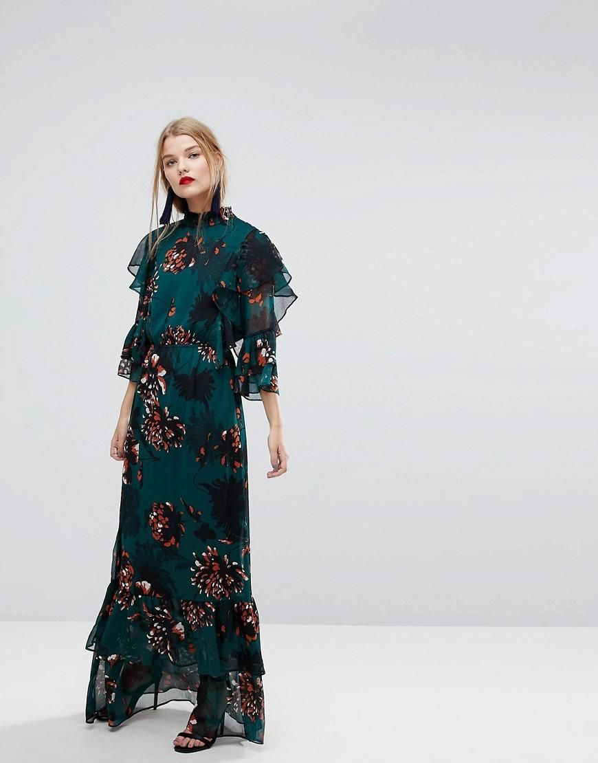 Yas bold floral print ruffle maxi dress multi maxi dresses