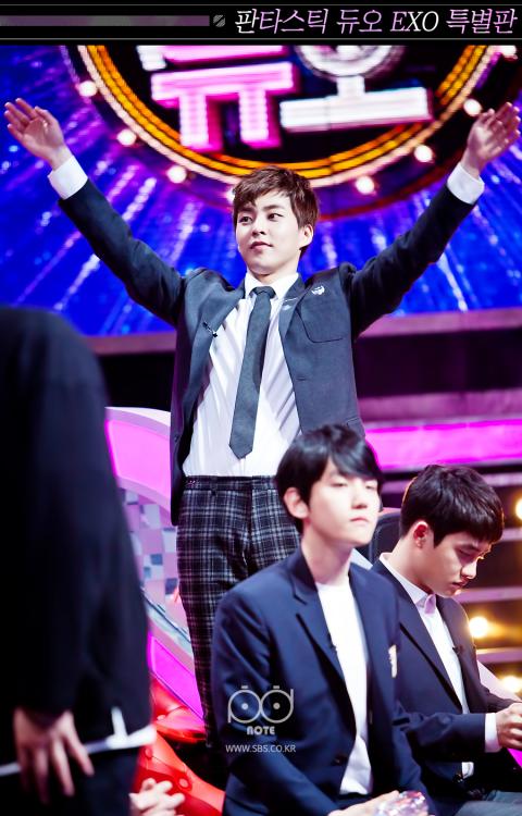 Xiumin - 160506 SBS Fantastic Duo website update  Credit: SBS. (SBS 판타스틱듀오)