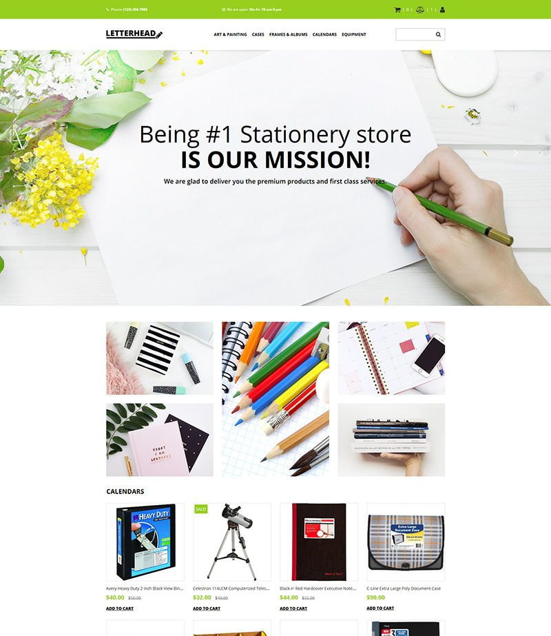 Stationery Store Website Template For Office Supplies Image Business Website Templates Website Template Ecommerce Template