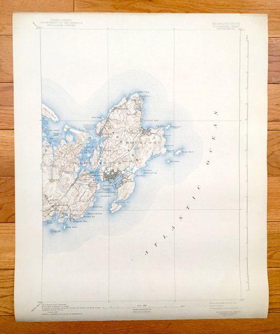 Topographic Map Massachusetts.Antique Gloucester Massachusetts 1893 Us Geological Survey