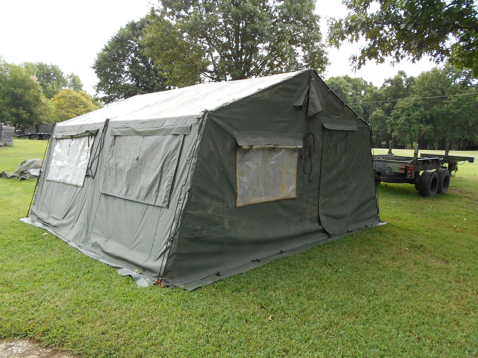 MILITARY 16x16 FRAME TENT CAMPING HUNTING ARMY VINYL CANVAS STOVE JACK SURPLUS 10074