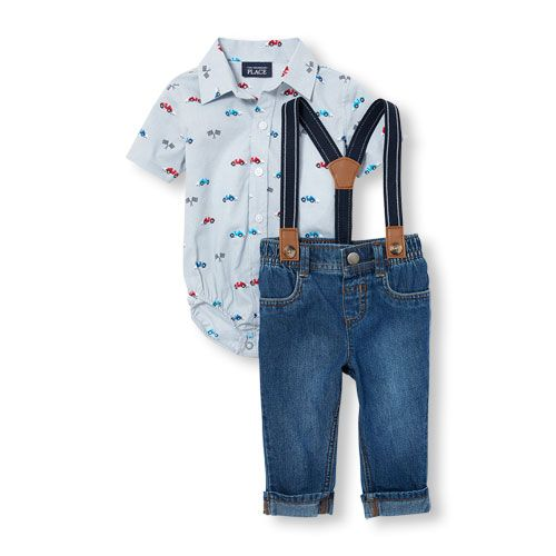 85f11bb70 Baby Boys Short Sleeve Racecar Print Poplin Button-Down Shirt Pull-On Jeans  And Suspenders Set