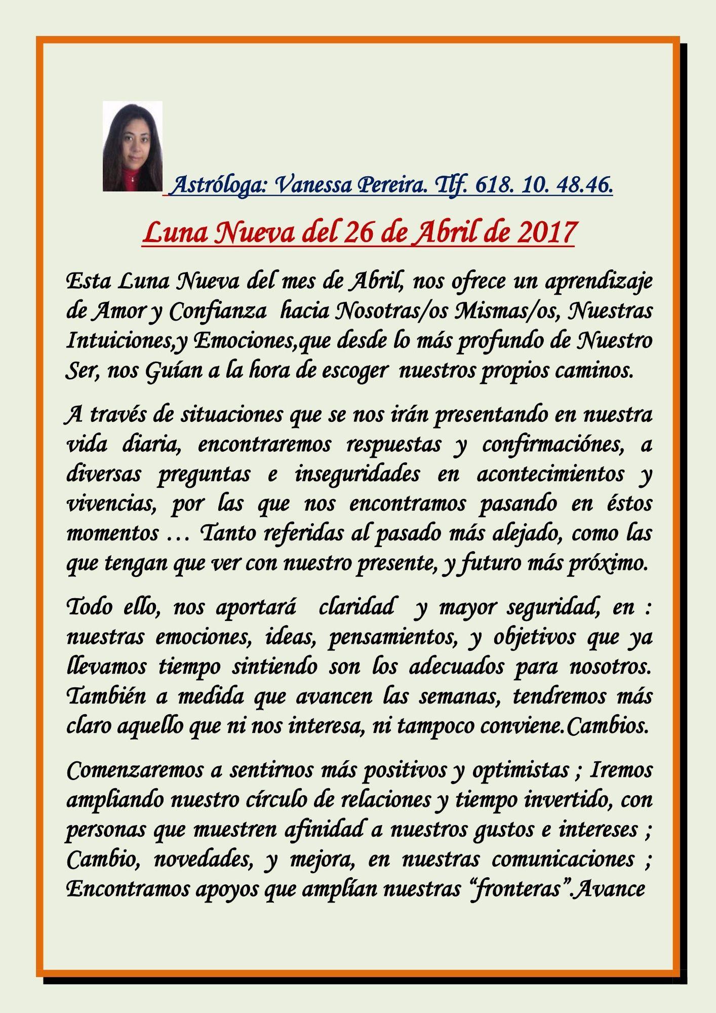 Astróloga Vanessa Pereira.  LUNA NUEVA DEL 26 DE ABRIL 2017