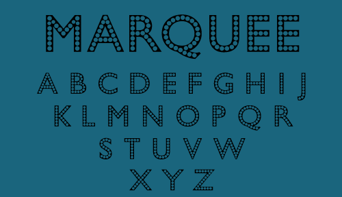 Marquee font is a glamorous font with a jazzy Elvis Presley show