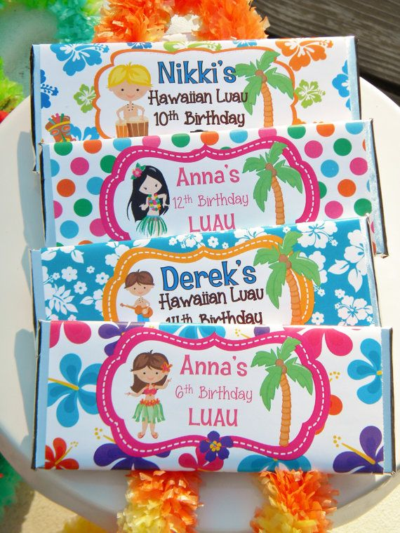 Personalized Hershey Candy Bar Birthday Party Favor Wrappers - Hawaiian Luau Party Favors - DIGITAL OPTION AVAILABLE #hawaiianluauparty