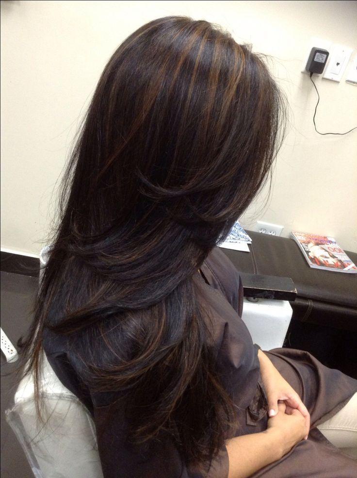 17 Best Ideas About Dark Hair Highlights On Pinterest Dark Highlight Color Ideas For Black Hair Highlight Color Ide Hair Styles Long Hair Styles Long Dark Hair