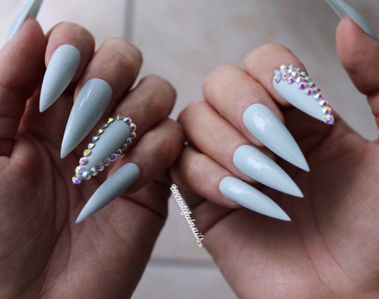 Light Blue Stiletto Nails With Rhinestones Blue Stiletto Nails Rhinestone Nails Light Blue Nails