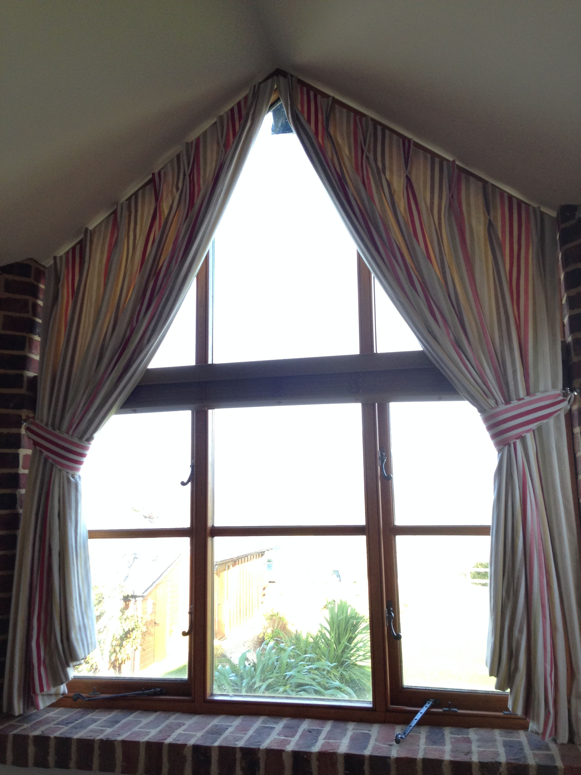 Window Curtain Box Design Shaped Curtains On A Triangular Window Made By Gers Curtains