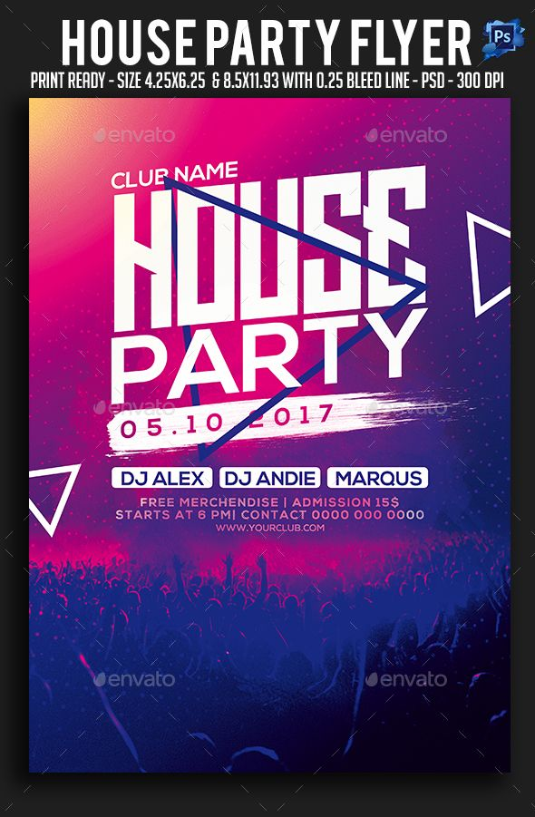 House Party Flyer Trance Dj Https Graphicriver
