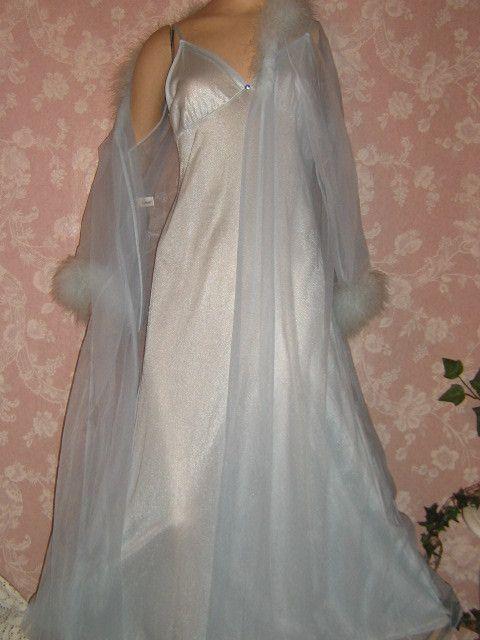 90ee05bd5c Vintage Nightgown Peignoir Robe set L Large M Sheer Chiffon Boa from  vintagepretties on Ruby Lane