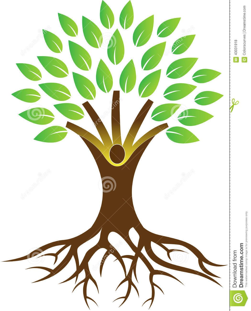 Tree With Roots Drawing Vector Root