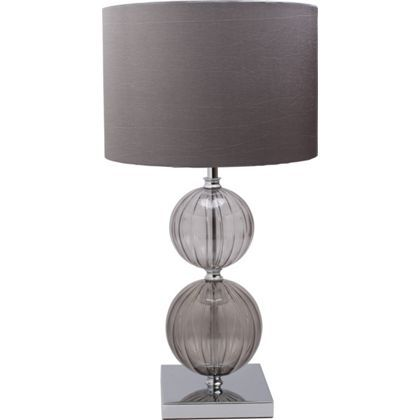 Tara 2 Tone Rib Glass Table Lamp - Smoke at Homebase -- Be inspired and