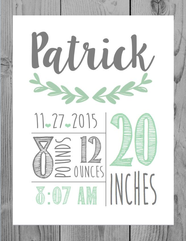 Birth Announcement Wall Art Decor Baby Boy Gift