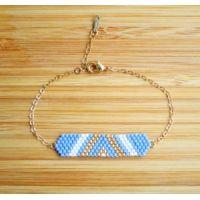 Bracelet Miyuki Bleu clair, blanc et doré