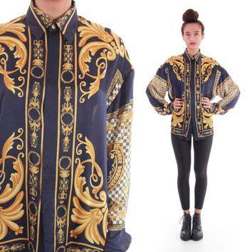90s Silk Baroque Royal Gold Navy Hipster Hip Hop Swag