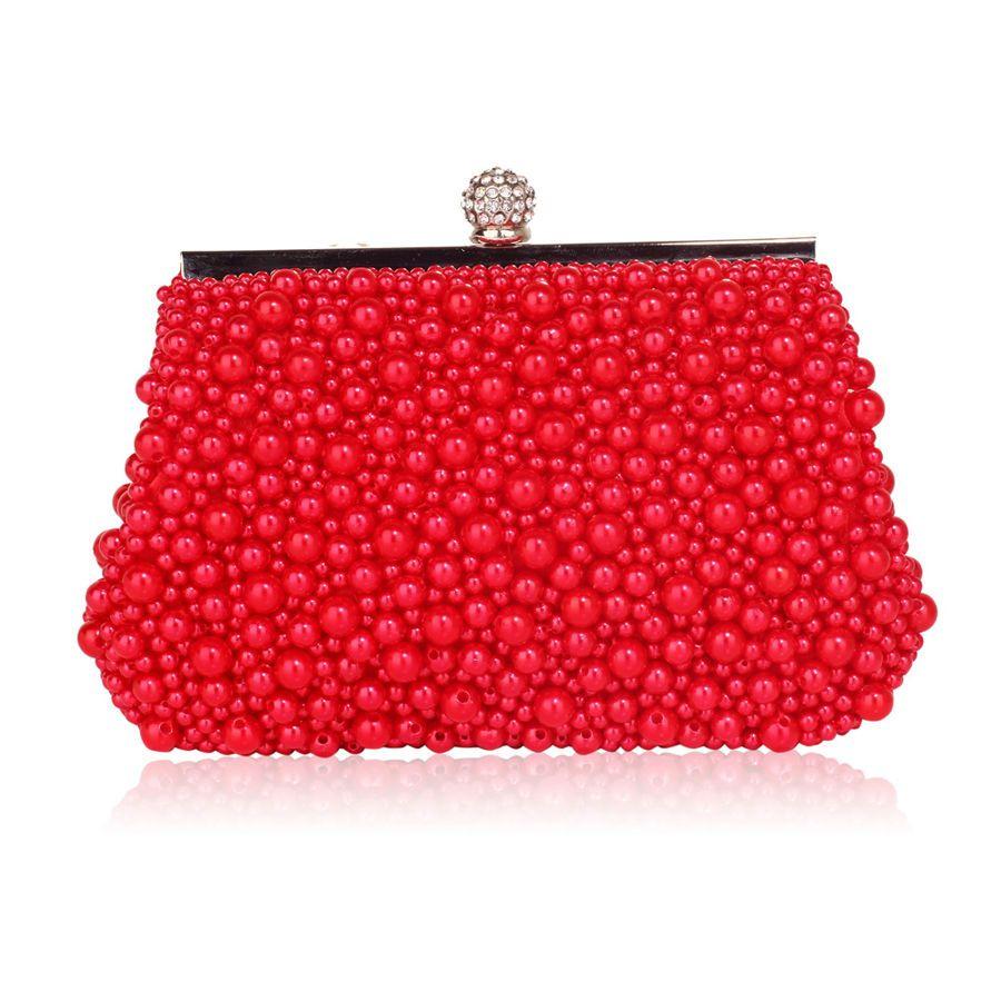 42bb20c838e95 Szałowa torebka wizytowa z koralików czerwona czerwony