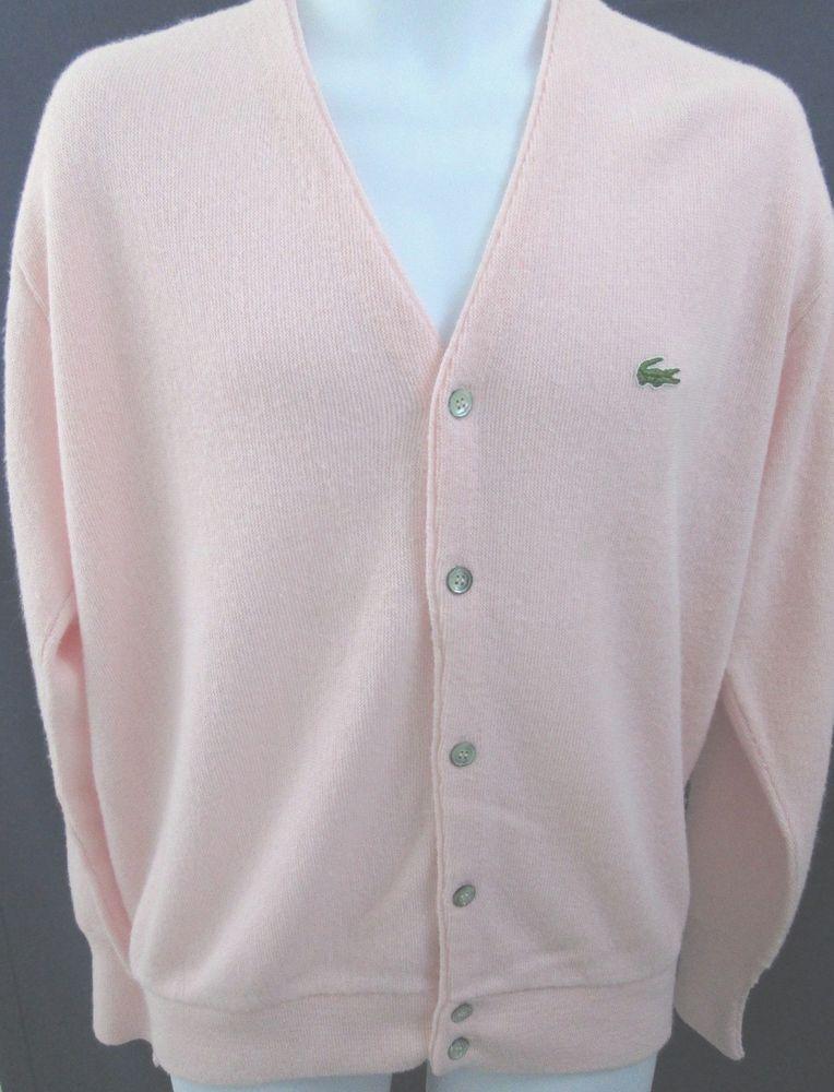 f23be7d2665a1 Details about Vintage Izod Lacoste Mens V-Neck Button Front Cardigan ...