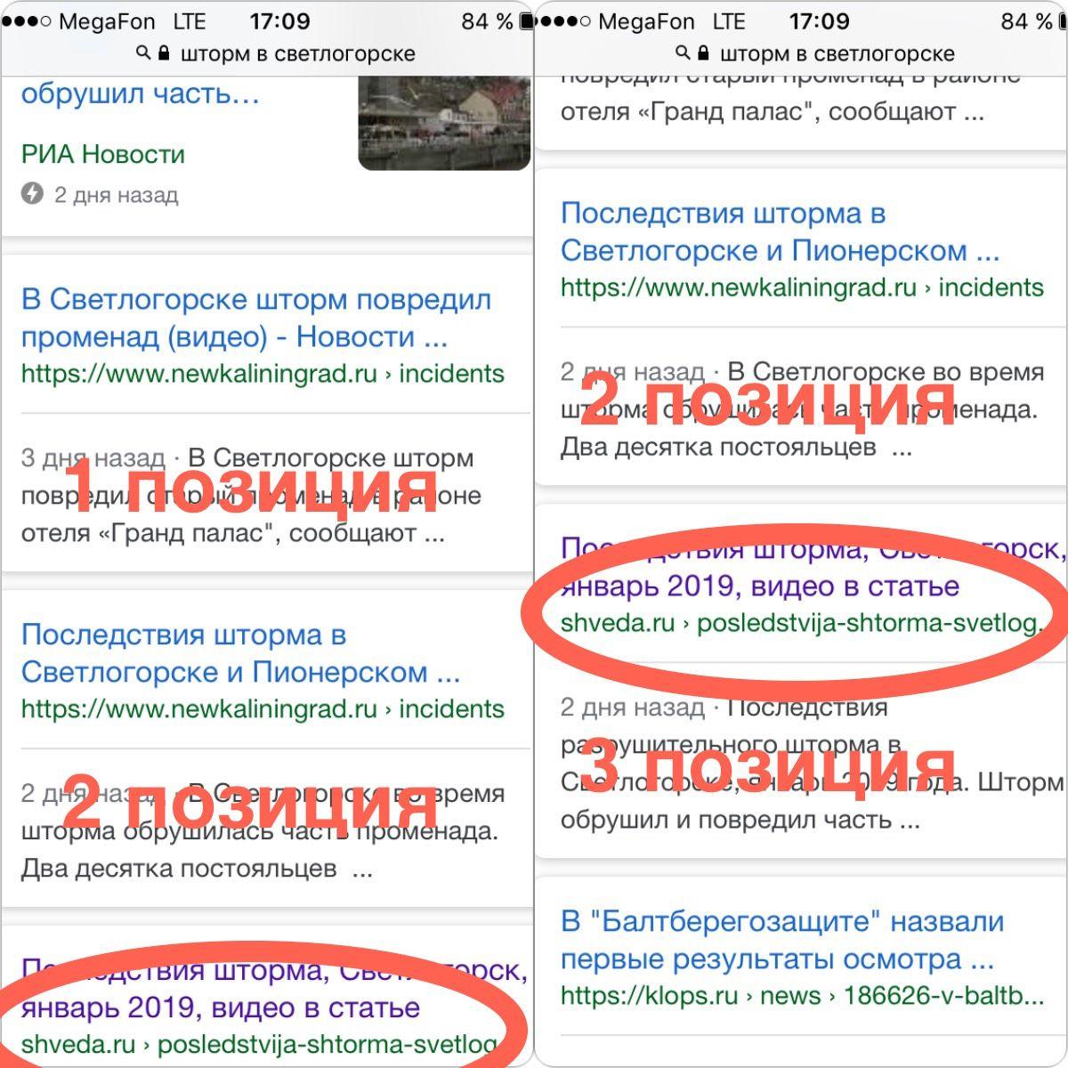 """Выдача в Google по запросу """"шторм в Светлогорске"""""""