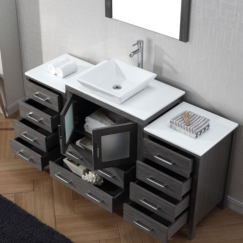 Virtu USA Dior 66 inch Single Sink Vanity Set in Zebra Grey - Overstock™ Shopping - Great Deals on VIRTU Bathroom Vanities