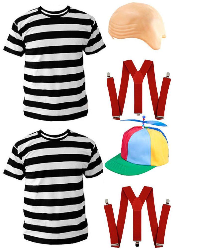 Fancy Dress Tweedle Dee or Dum Costume Set 3pc T shirt Braces Wonderland Alice