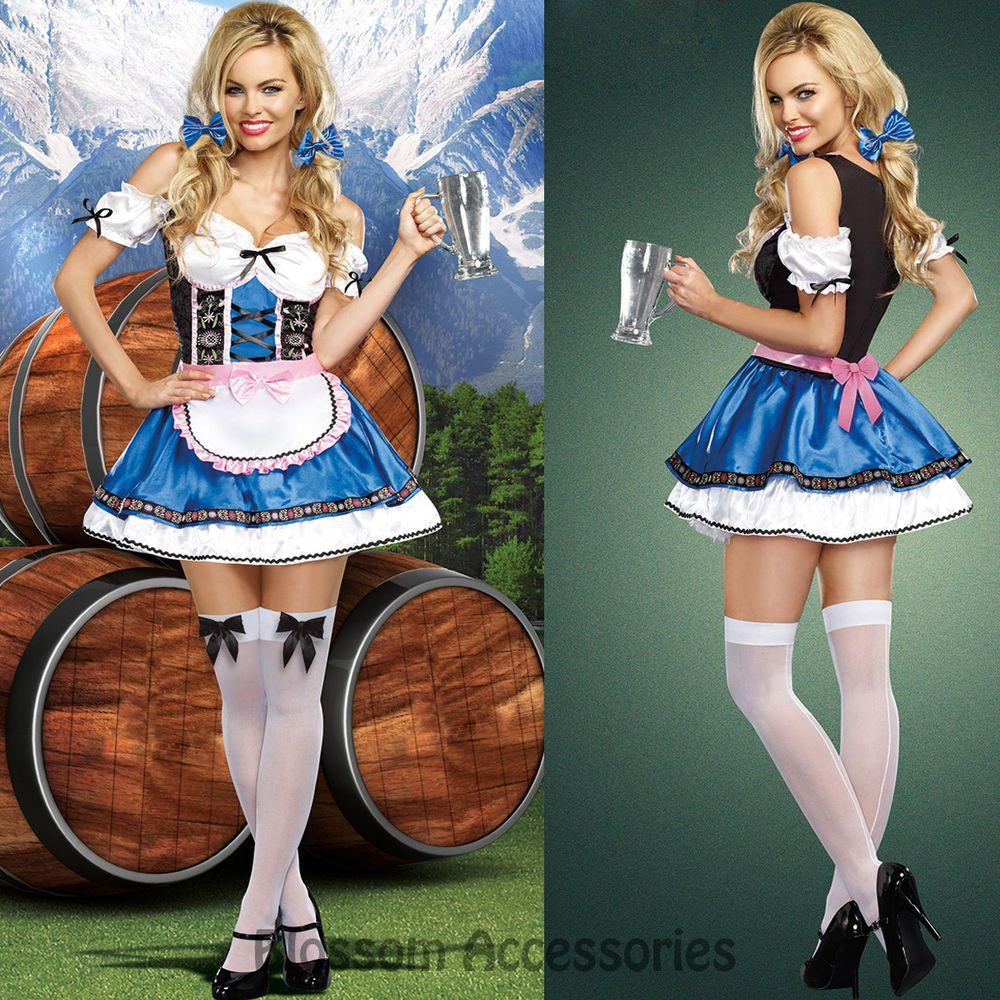 K18 Oktoberfest Beer Wench Maid Costume Bavarian German Heidi Dirdnl Leiderhosen