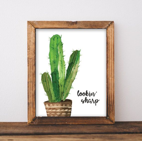 Cactus Poster - Lookin Sharp - Printable Artwork - Modern Decor - Cactus Decor - Cactus Print - Cactus Painting - Digital 8x10 Print