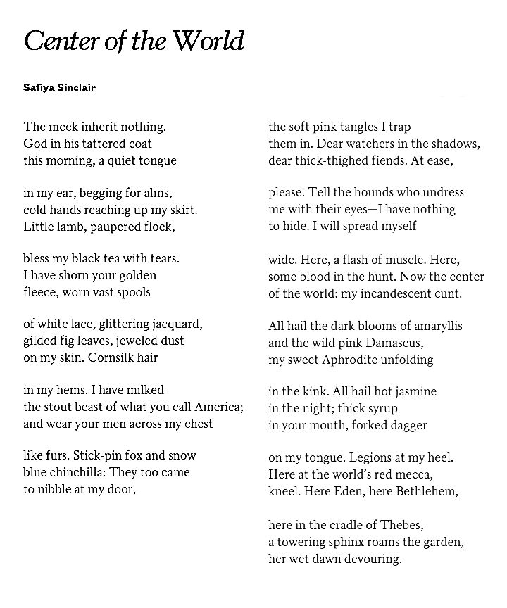 Center of the world by safiya sinclair poetry pinterest literature center of the world by safiya sinclair publicscrutiny Gallery