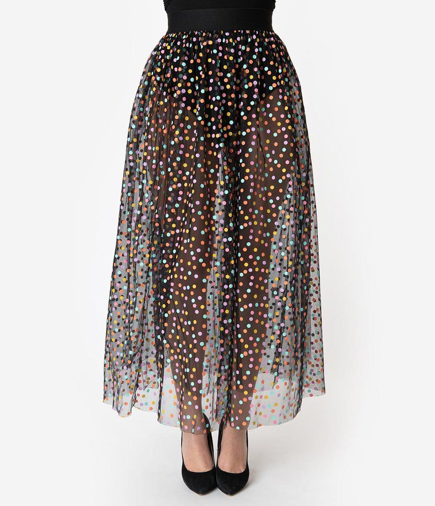 bb3c361a3148f0 Black & Multicolor Polka Dot Mesh Tulle Kiara Long Skirt in 2019 ...