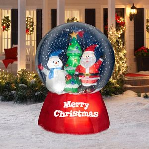 5 5 Tall X 4 5 Wide Airblown Snow Globe With Santa And Snowman Christmas Inflatable Christmas Inflatables Outdoor Christmas Inflatables Snow Globes