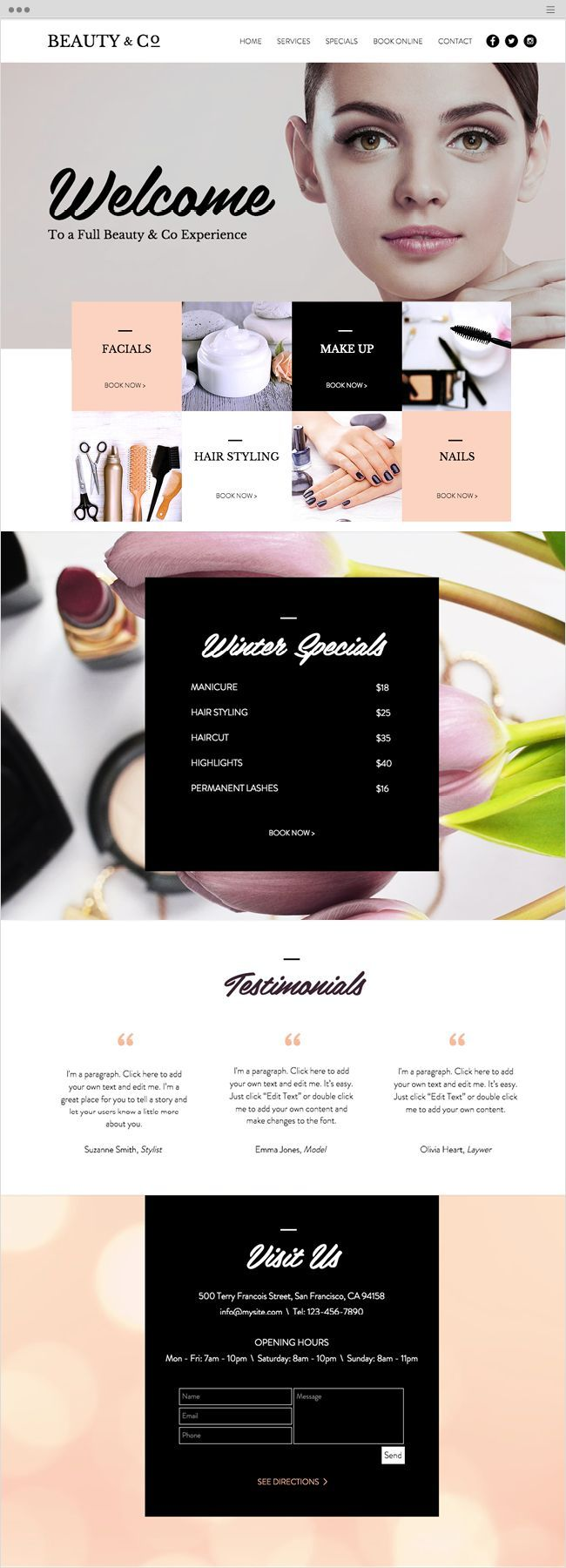 beauty salon website template templates pinterest website
