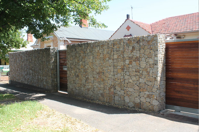 Gabion Fence With Automatic Sliding Gates Http Www