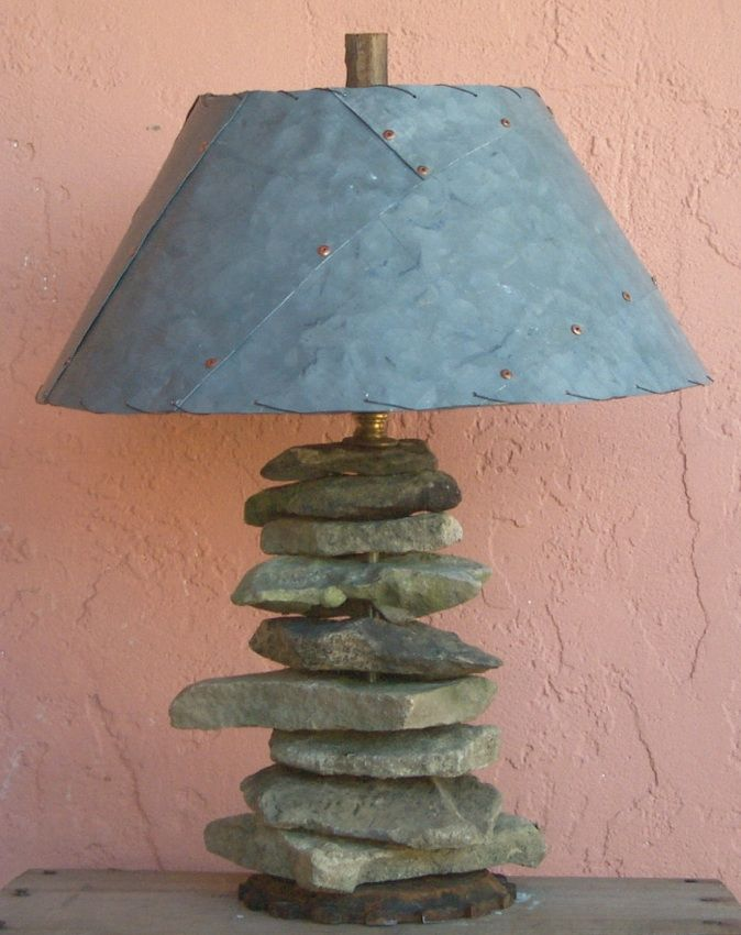 Rock Table Lamp With Galvanized Shade Recycle Green Artist Lane Patterson Tucson Arizona Az Recycled Reclaimed Green Materials Casual Tabl