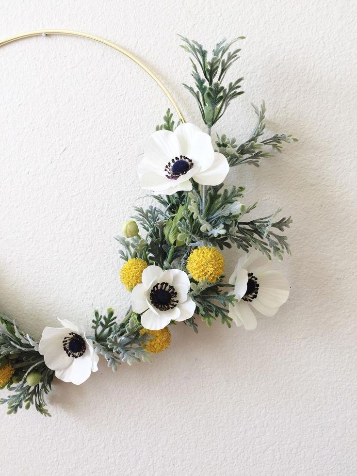 Photo of Modern tire wreath, front door wreath, gold tire wreath, minimal wreath, tire wreath, minimalist wreath, dusty Miller wreath, summer