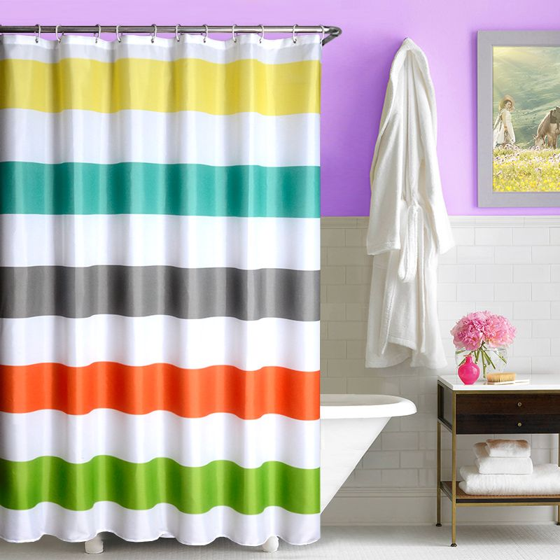 Click To Buy New Colorful Striped Shower Curtains Bathroom Curtain Waterproof